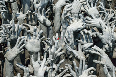 Hands statue from hell in Wat Rong Khun. Wat Rong Khun,Chiang Rai Thailand Royalty Free Stock Images