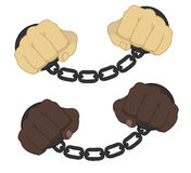 Hands in steel handcuffs. Male hands in steel handcuffs comics style illustration isolated on white Royalty Free Stock Photos