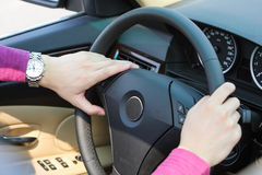 Hands on steering wheel Royalty Free Stock Photos