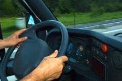 Hands on the steering wheel Royalty Free Stock Photos