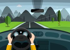 Hands on Steering Wheel. Car on Road with Mountains on Background. Vector Nature Trip Illustration vector illustration