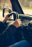 Hands on the steering wheel Royalty Free Stock Image
