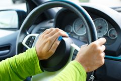 Hands on steering wheel Royalty Free Stock Image
