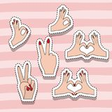 Hands sticker set gesture on pop art linear color background. Vector illustration Royalty Free Stock Images