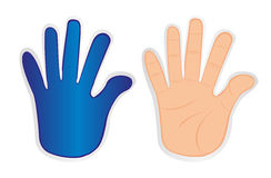 Hands stickers. Isolated over white background Royalty Free Stock Image