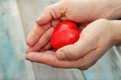 Hands with stone heart Stock Images