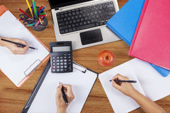 Hands student doing homework 2 Royalty Free Stock Photography