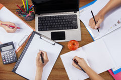 Hands student doing homework 3 Royalty Free Stock Photography