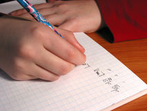 Hands student writing Royalty Free Stock Images