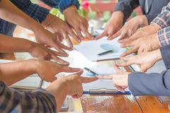 Hands of success startup business teamwork. Creative idea teamwo. Rk concept. Group of multiethnic diverse team Stock Photography