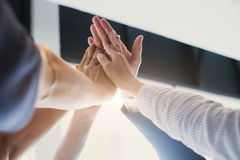 Hands of success startup business teamwork. royalty free stock photos