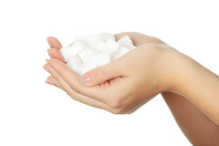 Hands with sugar cubes Royalty Free Stock Image