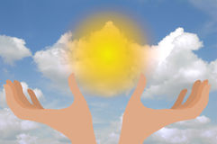 Hands with sun Royalty Free Stock Image