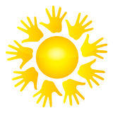 Hands sun. Isolated vector yellow sun from ring of kids palms on white background Stock Illustration