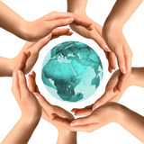 Hands Surrounding The Earth Stock Photo