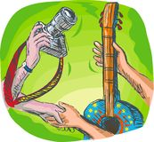 Hands swapping camera and guitar. Full color hand sketched drawing vector illustration showing two hands swapping DSLR camera or photography shoot with guitar or Royalty Free Stock Image
