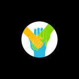 Hands. Symbol of family and togetherness concept. Vector design element, icon  on black. Hand of child lying on woman`s and men`s hands. Symbol of family and Royalty Free Stock Photos