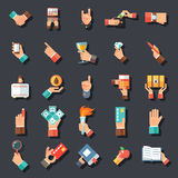 Hands Symbols Accessories Icons Set Flat Design Concept Template on Stylish Background Vector Illustration Stock Photo