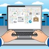 hands symbolsbärbar dator många två Arkivbilder