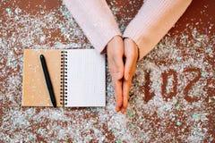 Writing 2018 flour. Christmas art design hand figures new year decoration Stock Photography
