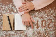 Writing 2018 flour. Christmas art design hand figures new year decoration Royalty Free Stock Images