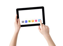 Hands, Tablet and apps. Two hands with Tablet PC, finger pointing abstract application, isolated on white, clipping path Royalty Free Stock Images