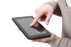 Hands with tablet computer Royalty Free Stock Images