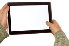 Hands with tablet computer Stock Images