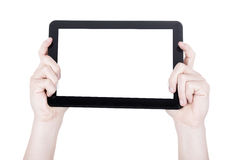 Hands with tablet Royalty Free Stock Image