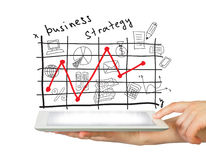 Hands, tablet pc and business strategy Royalty Free Stock Photos