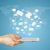 Hands, tablet pc and contacts Royalty Free Stock Photo