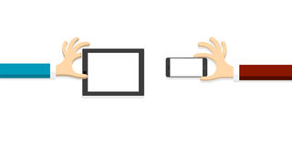 Hands with tablet (pc) and smartphone in cartoon style. Vector illustration Stock Images