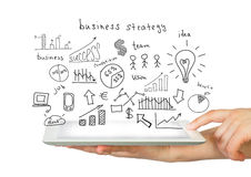 Hands, tablet and sketches business plan Royalty Free Stock Photo