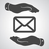 Hands take care of message icon Stock Image