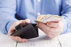 Hands taking out money from wallet Royalty Free Stock Image