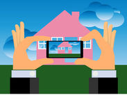Hands Taking Picture of A House With A Smartphone Royalty Free Stock Photo