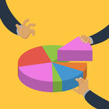Hands taking pieces of pie chart isometric vector. Hands taking pieces of pie chart colorful minimalistic isometric style vector illustration vector illustration