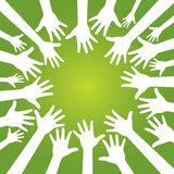 Hands in team. On olive green background Stock Photo