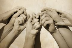 Hands of team stock photography