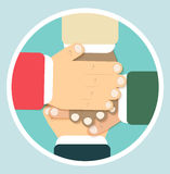 Hands team in flat design Royalty Free Stock Photo