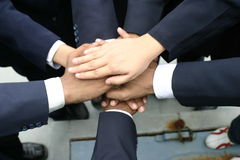 Hands teamwork. Many hands joined together depicting team effort and teamwork Royalty Free Stock Image