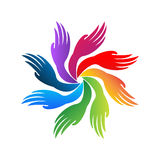 Hands teamwork logo vector Stock Images