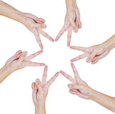 Hands of teamwork , conceptual style royalty free stock image