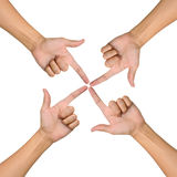 Hands of teamwork , conceptual style. Focus to the one point Royalty Free Stock Photography