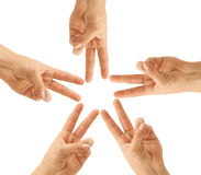 Hands of teamwork , forming the star shape Stock Image