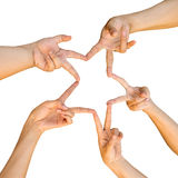 Hands of teamwork , forming the star shape. Royalty Free Stock Images