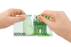 Hands tear money Royalty Free Stock Photo