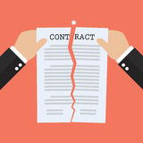 Hands tearing apart contract document paper. Agreement cancellation Stock Photography