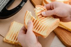 Hands tearing a hot sandwich. With grilled crust of bread and melted Cheddar cheese. Tasty and simple lunch meal royalty free stock photos
