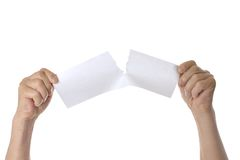 Hands tearing paper Royalty Free Stock Photography